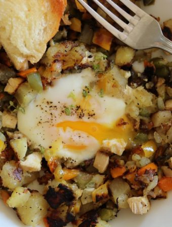 Smoked Chicken Hash and Eggs